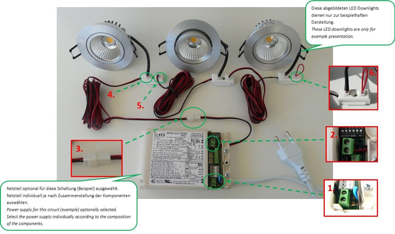 Installationsbeispiel LEDs mit Verbindungsblöcken