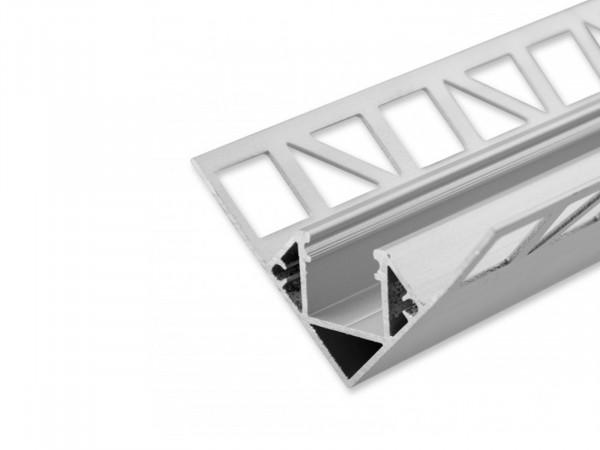 LED Alu Fliesenprofil AL-PU21 für Innenecken silber