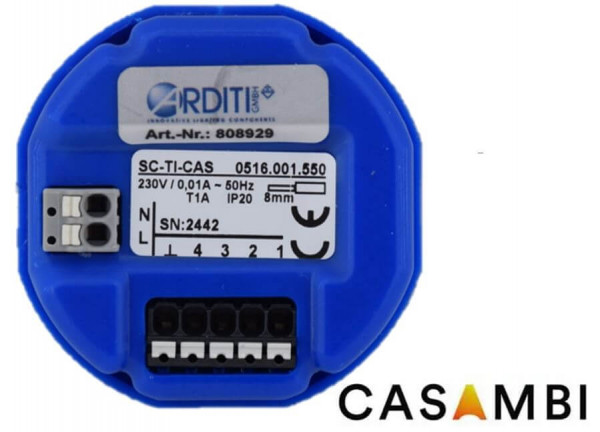 Casambi push button interface with 4 freely programmable push buttons / normal opens